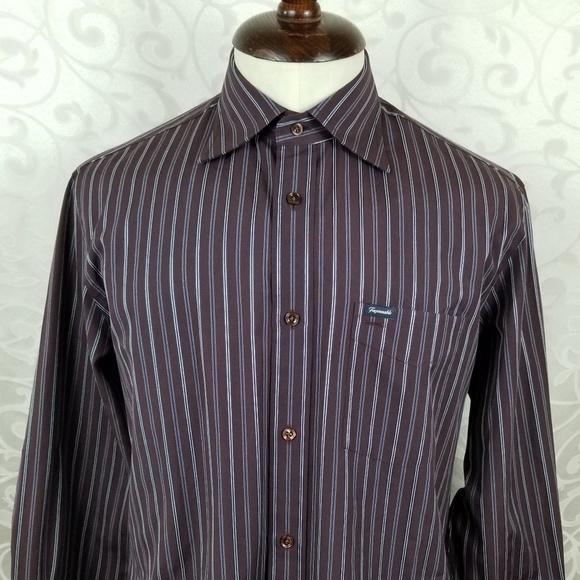 3f76a1e88f5eb9 Facconable Shirts   Faconnable Mens Shirt M Burgundy Blue Stripes ...